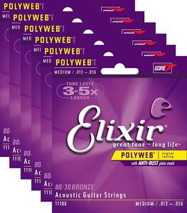 elixir 11100 polyweb medium gauge acoustic guitar strings 6 pack bundle 13 799928923859 ebay. Black Bedroom Furniture Sets. Home Design Ideas
