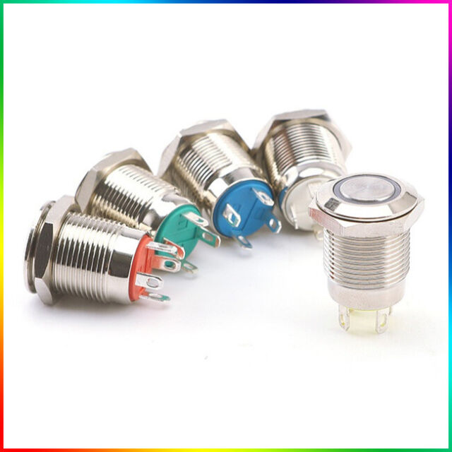 12V Momentary Metal Switch Horn Push Button 12mm Boat LED IP67 Waterproof