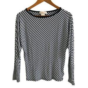 Michael-Kors-Jersey-Top-Size-P-S-White-Black-Striped-Pattern-Kimono-Sleeve