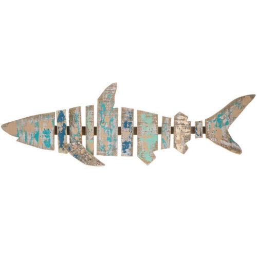 Nautical Painted Shark Wood Wall Sculpture Beach Ocean Sea coastal Wall Decor