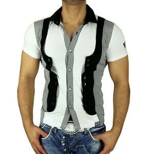 r neal herren kurzarm sommer kontrast weste mit t shirt. Black Bedroom Furniture Sets. Home Design Ideas