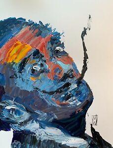 ORIGINAL-Abstract-Salvador-Dali-Artist-Palette-Knife-Portrait-Art-Painting-11x13
