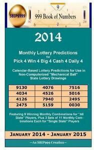 Details about 2014 Monthly Lottery Predictions for Pick 4 Win 4 Big 4 Cash  4 Daily 4 : Cale