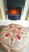 Moroccan Handmade Leather Pouffe Camel Design With Red Accents
