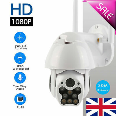 1080P WIFI IP Camera WHITE Wireless Outdoor CCTV HD Home Security IR Cam Zoom UK