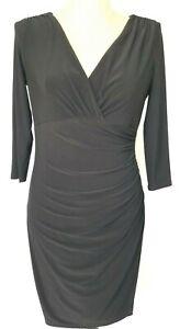 Lauren-Ralph-Lauren-Women-039-s-Dress-Size-10-Black-3-4-Sleeve-Faux-Wrap-Ruched