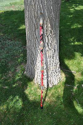 Beautiful Art Handmade Walking Stick Cane Wood Leather Hiking Staff Red/Black