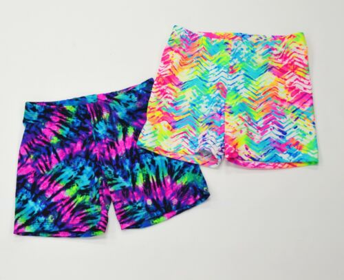VOLLEYBALL EXERCISE COMPRESSION SHORTS NEON TIE DYE PATTERN WOMENS SIZES NWOT