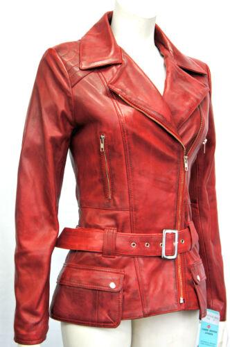 Boston Red Donna Designer Reale Morbido Pecora Nappa Giacca in Pelle Lavato