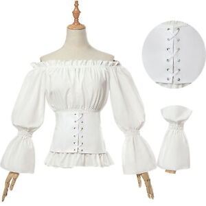 Women-Ladies-Gothic-Renaissance-Medieval-Victorian-Lolita-Blouse-Party-Shirt-Top