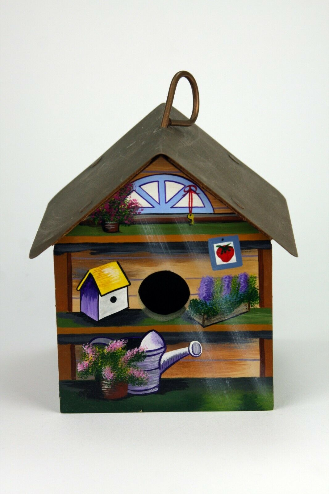 Polly's Perch Hand Painted Birdhouse  Signed  Copper Roof  1997