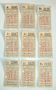Collection of 9 vintage 1950s LONDON TRANSPORT CARD BUS TICKETS 1.5 d