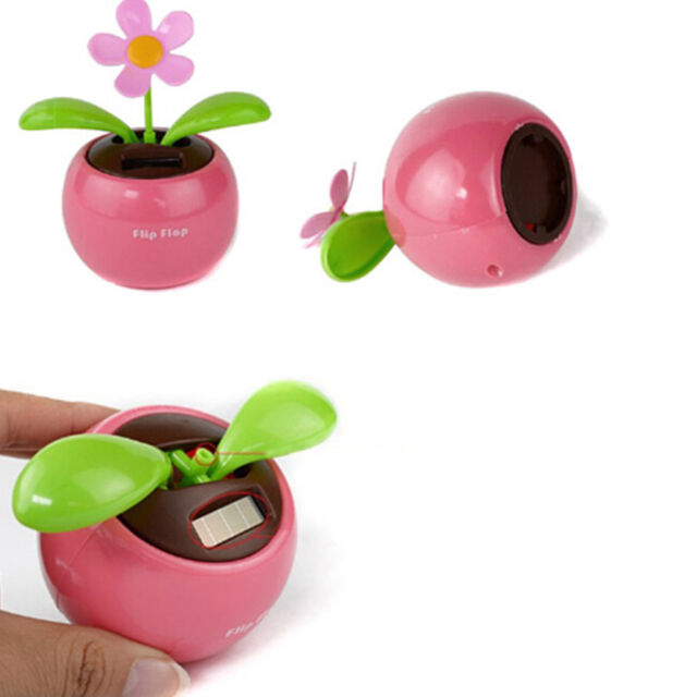 98a8c9847 1X Home Car Flowerpot Solar Power Flip Flap Flower Plant Swing Auto Dance  Toy H