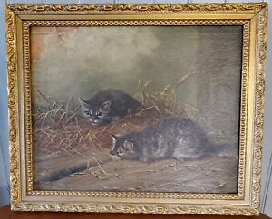 Antique-Framed-Oil-Canvas-Painting-Barn-Kittens-Spy-A-Mouse-Unsigned