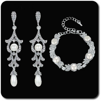 Luxus Schmuckset Armband Xxl Ohrringe Silber/klar Strass Perlen Braut Hochzeit Die Neueste Mode