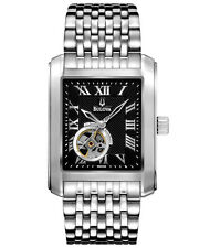 BULOVA AUTOMATIC 21 JEWELS BLACK DIAL STAINLESS STEEL MEN'S WATCH 96A128 NEW