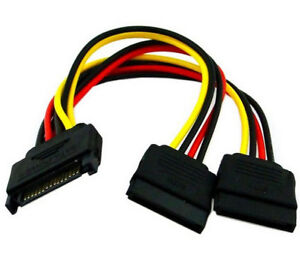 15Pin SATA Male Plug To 2 Female 15Pin Power HDD Splitter Connector Cable For PC