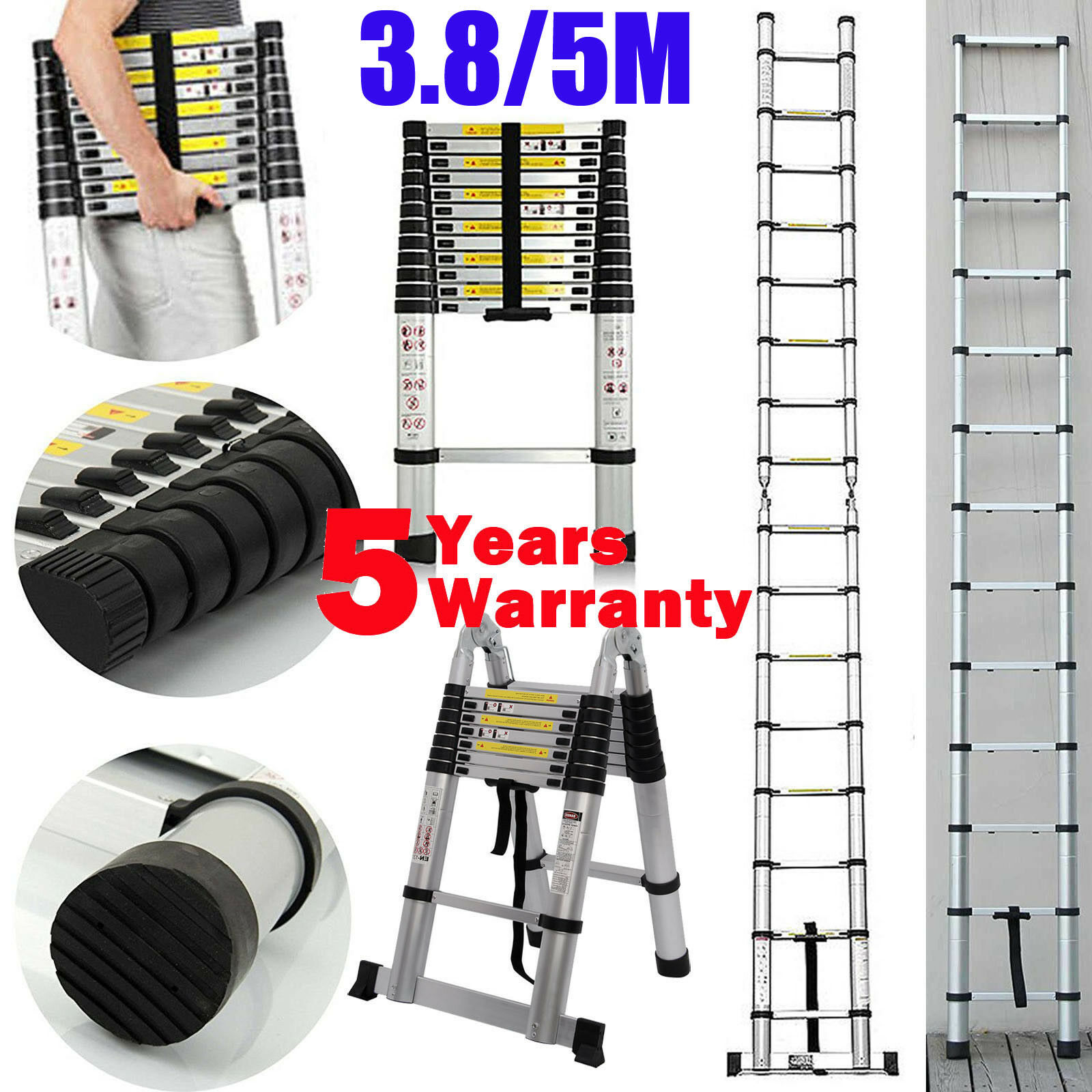 Multi-Purpose Aluminium Telescopic Ladder Extension Extendable Steps EN131 3.8 5