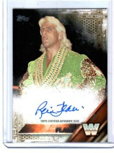 WWE-Ric-Flair-2016-Topps-Then-Now-Forever-Gold-Autograph-Card-SN-5-of-10