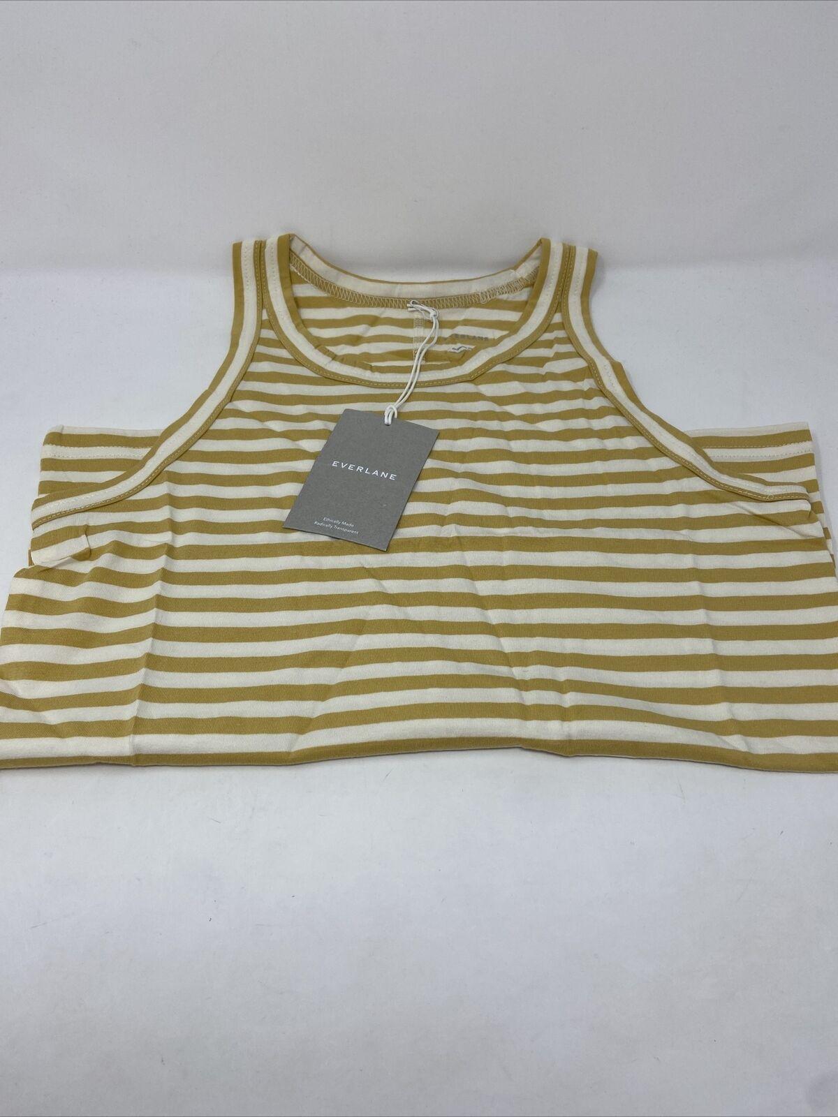 Everlane Organic Cotton Cutaway Tank Golden Stripe Size M Medium New With Tags