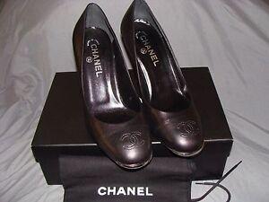 16c82bea75 NIB CHANEL Lux Black Leather Large CC Logo Heels Pump Italy RARE ...