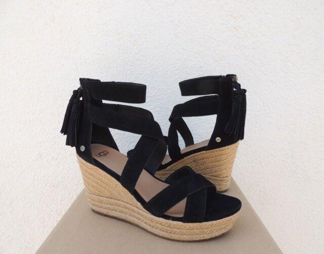 f85da5a75dd UGG Raquel Black Suede Strappy Platform Wedge HEELS US 5  EUR 36 for ...