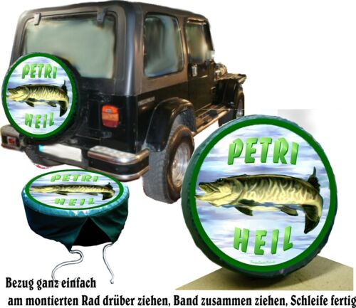 Reserverad Bezug Reifencover Hecht Angler Fisch Auto SUV Jeep Suzuki Jimny u.A