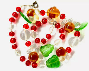 Vintage-Green-Red-Amber-Glass-Bead-FRUITY-16-INCH-Necklace-GIFT-BOXED