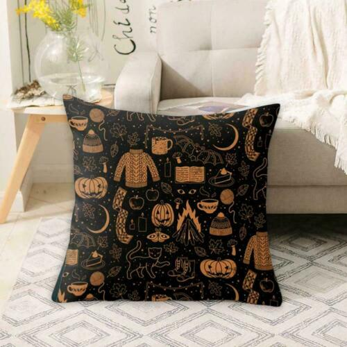 Halloween Black White Decorative Pillow Cases Cartoon Covers Ghost Skull D7L3