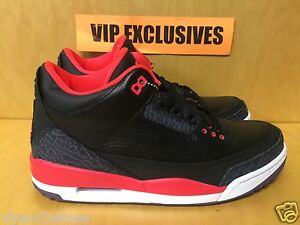 ee1a8c3cba8636 NIKE AIR JORDAN RETRO 3 III CRIMSON 2013 BLACK CRIMSON SZ 4-13  IN ...