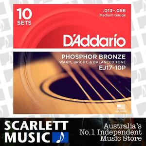 10 Sets of D/'Addario EJ17 Medium Acoustic Guitar Strings 13-56