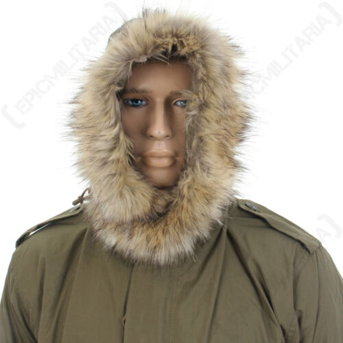 Olive Drab America Army Military Repro New US M51 Parka Hood with Faux Fur