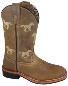 Smoky-Children-039-s-Kid-039-s-Rancher-Brown-Oil-Distress-Leather-Western-Cowboy-Boot