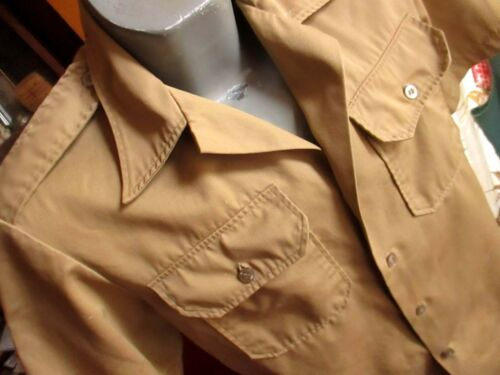 MEDIUM True Vtg 70s USMC Army Khaki Tan SHADE NO 1 TWILL SS Uniform Shirt