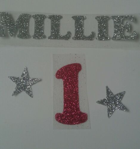 2 star and number Personalised iron-on transfer silver glitter name 10cm long
