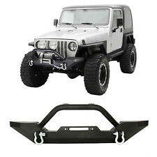 Front Rear Bumper W/LED Lights Winch Plate D-rings Fit 87-06 Jeep Wrangler TJ YJ