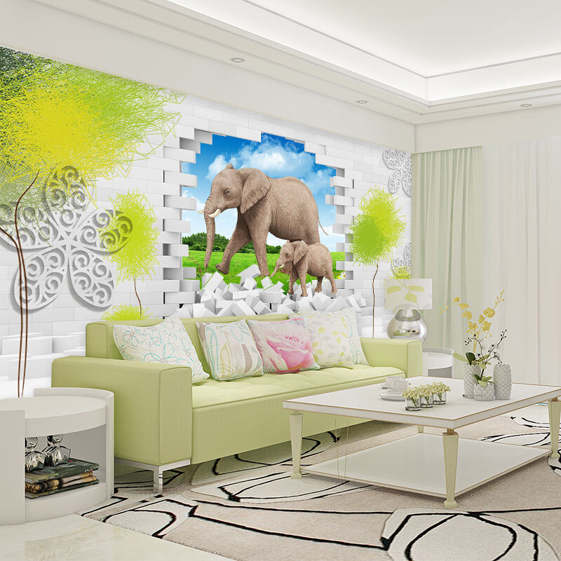 3D Two elephants 325 Wall Paper Print Wall Decal Decal Decal Deco Indoor Wall Murals 50a86a