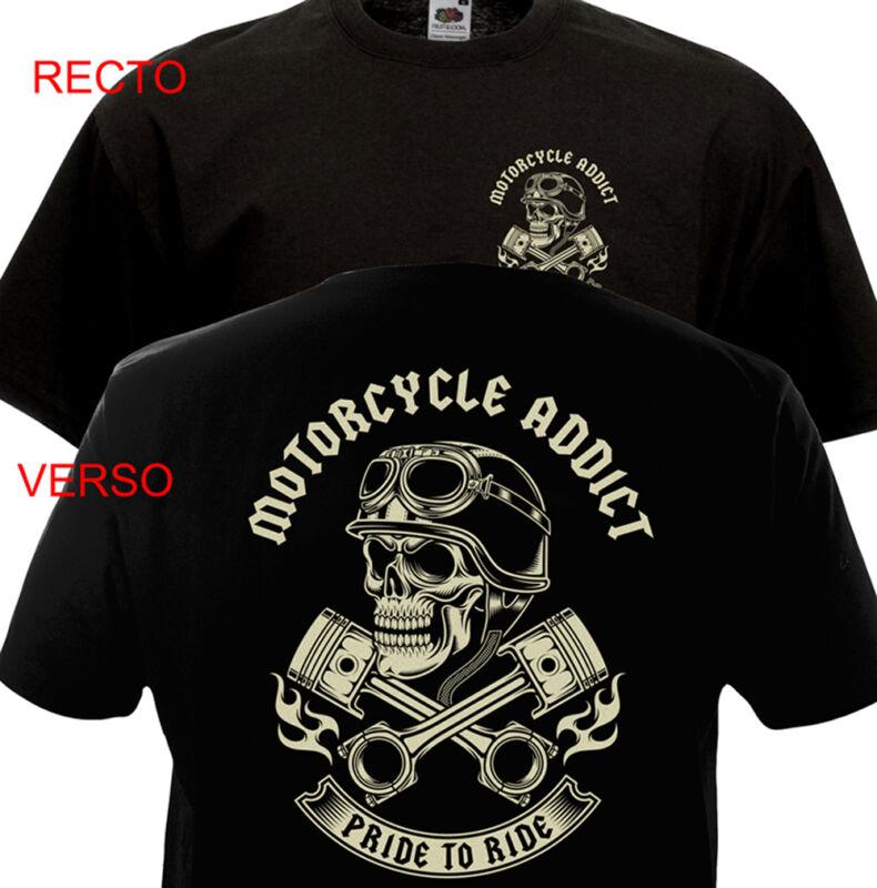 T-shirt Motorcycle Addict - Biker Chopper Bobber Harley Davidson Indian Motard