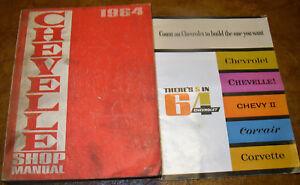 1964 64 Chevy Chevrolet Shop Manuel & Brochure Chevelle 300 Malibu Ss El Camino