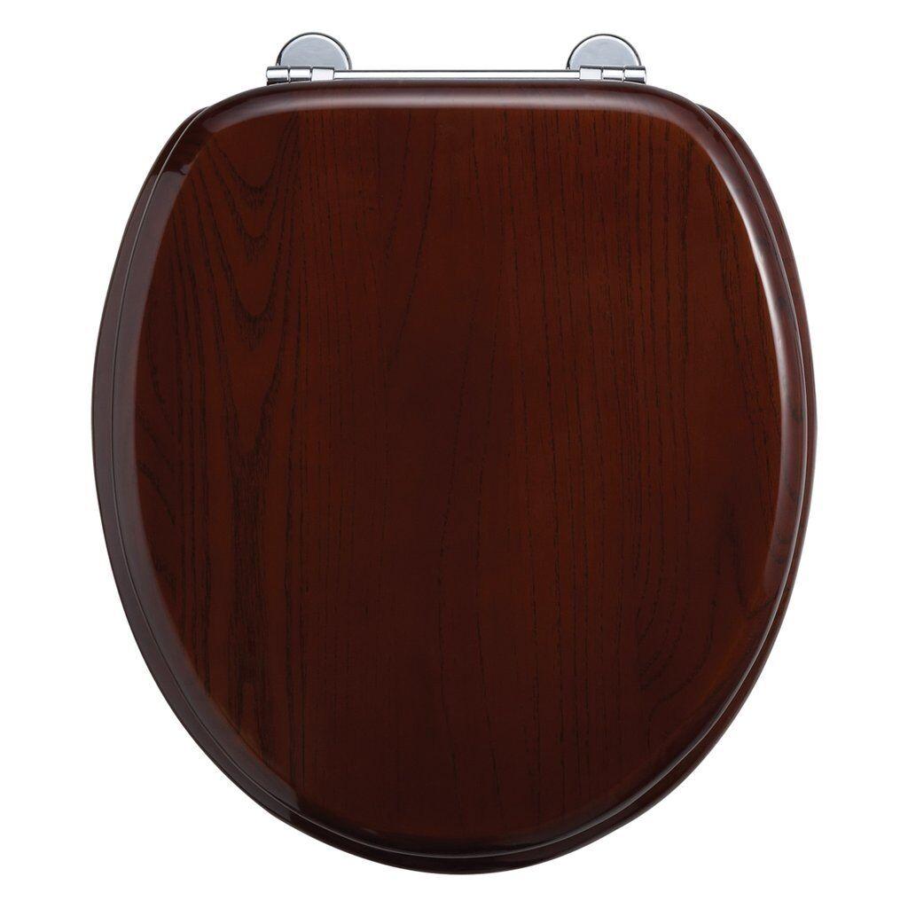 Burlington Mahogany Toilet Seat - Chrome Bar hinge - S12