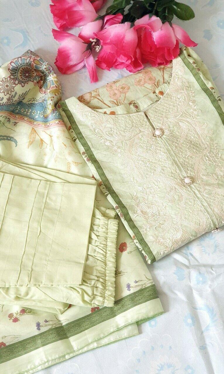 Pakistani Original Bin Saeed Party Wear Shalwar Kameez Stitched 3 piece Size 44