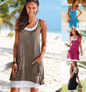 Womens-Boho-Solid-Sleeveless-Ladies-Summer-Beach-Loose-Midi-Long-Dress-Long-Top