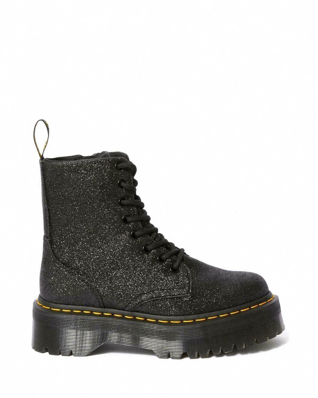 Dr Martens Jadon Glitter Black Platform Double Sole Boots Unisex