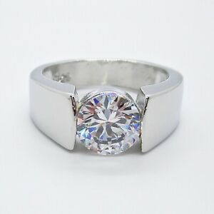 Damen-Solitaer-Ring-Zirkonia-Silber-Mode-Schmuck-Verlobung-Gr-52-55-57-60-62-NEU