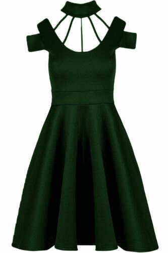 Womens Ladies Choker High Neck Cold Cut Out Shoulder Flared Skater Swing Dress