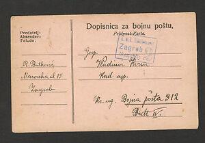 WWI-Autriche-Croatie-Hongrie-myliary-postacrd-Feldpost-Censure-Zagreb-2-1916