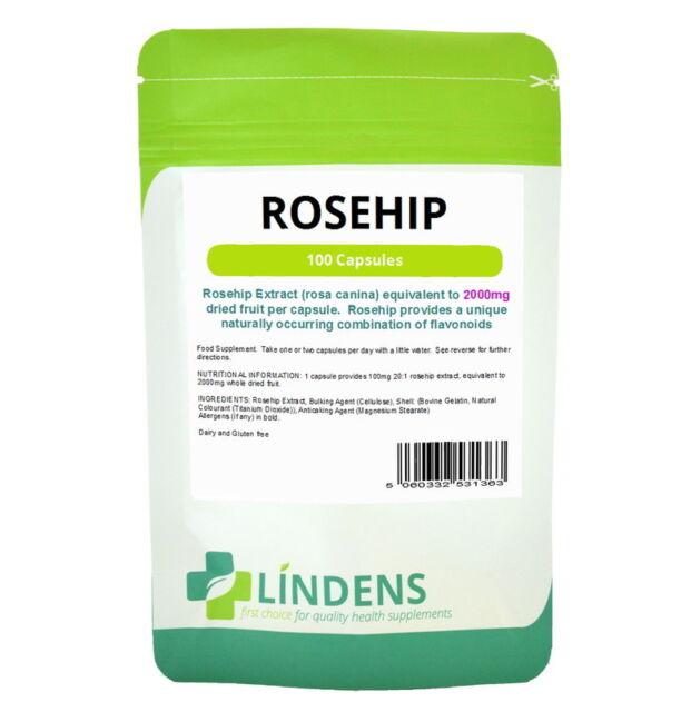 Lindens Rosehip 100 Capsules 2000mg Rose Hips Bioflavonoids Supplement