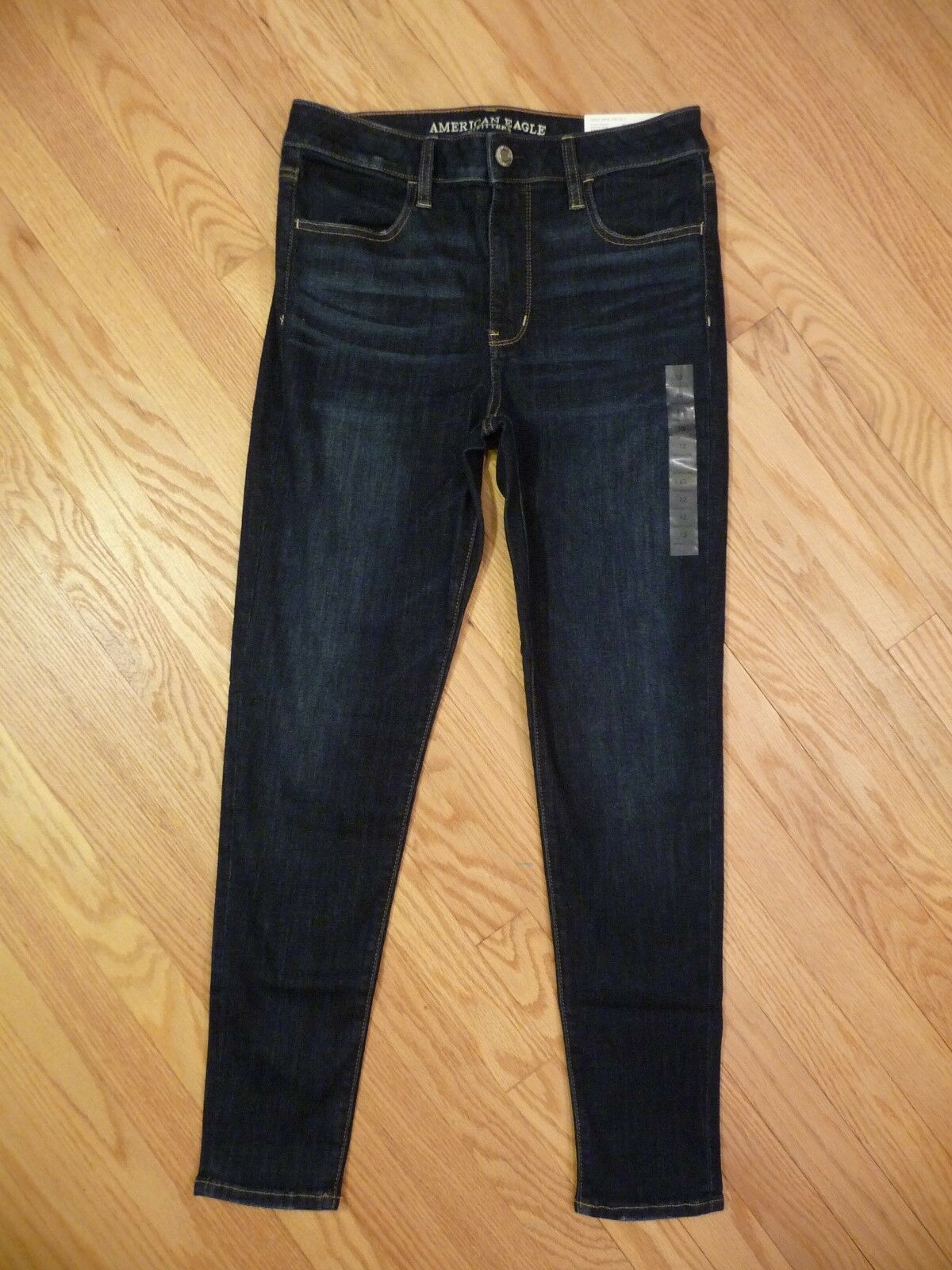 Womens NEW AE American Eagle Hi-Rise Jegging Super Stretch Dark Denim Jeans 12 R