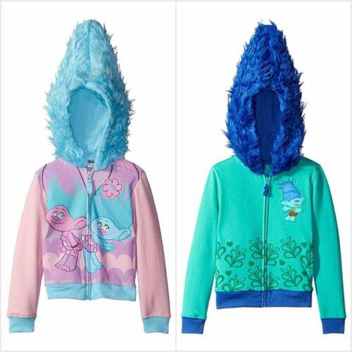 NWT Dreamworks Trolls Branch Twins Girls Hooded Sweater Hoodie Jacket