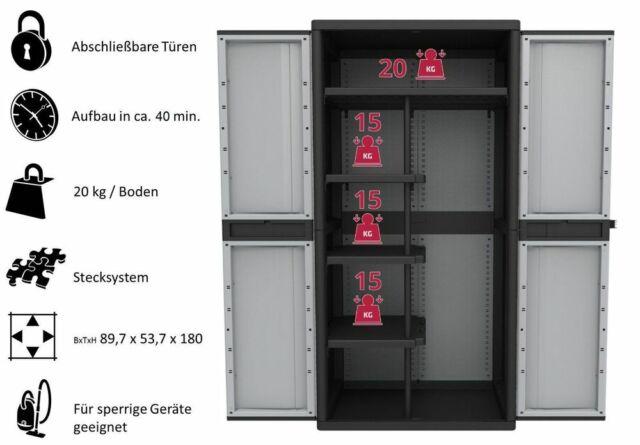 XXXL Kunststoffschrank Werkstattschrank Haushaltsschrank Spind Spindschrank